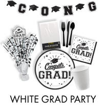 Congrats Grad White Graduation Party Supplies