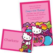 Custom Rainbow Hello Kitty Invitations & Thank You Notes