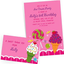 Custom Sweet Shop Invitations & Thank You Notes