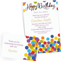 Custom Confetti Bash Invitations & Thank You Notes