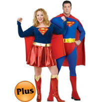 Plus Size Superman and Supergirl Couples Costumes