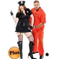 Plus Size Dirty Cop and Plus Size Inmate Convict Prisoner Couples Costumes
