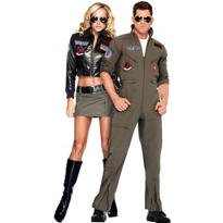 Women's Bomber Jacket and Men's Flight Suit Top Gun Couples Costumes