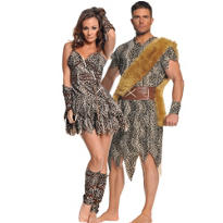 Caveman and Mate Couples Costume