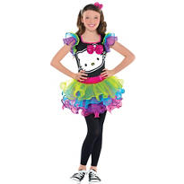 Girls Rainbow Hello Kitty Costume