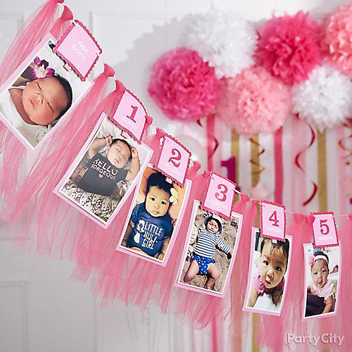 Pink First Birthday Photo Garland