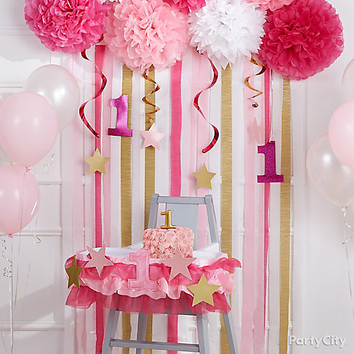Pink Twinkle Smash Cake Decorating Idea