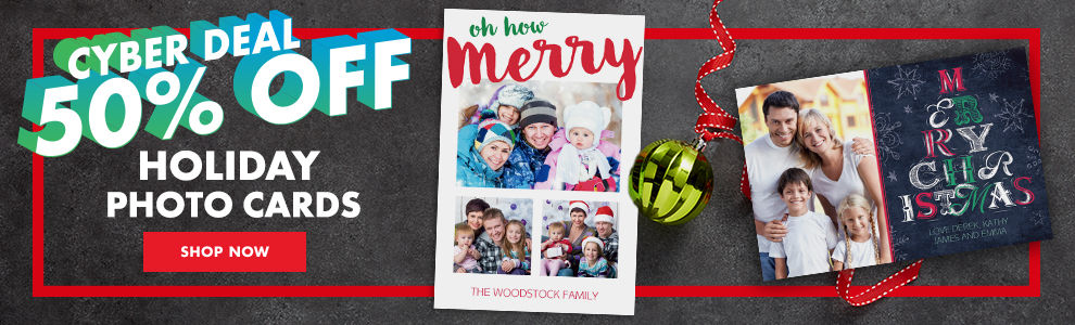Cyber Deal 50% off Christmas Photo Cards Shop Now