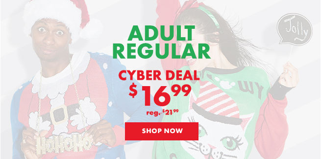 Adult Regular Ugly Christmas Sweater Cyber Deal $16.99 reg. $21.99