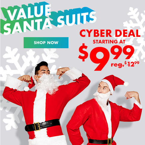 Value Santa Suits Cyber Deal Starting at $9.99 reg. $12.99 Shop Now