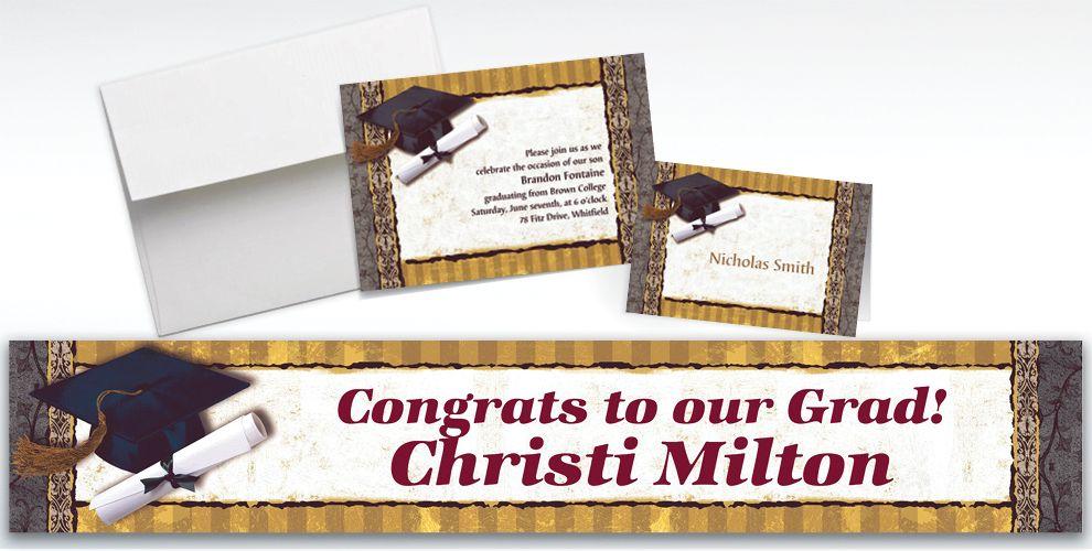 Custom Golden Grad Invitations and Thank You Notes