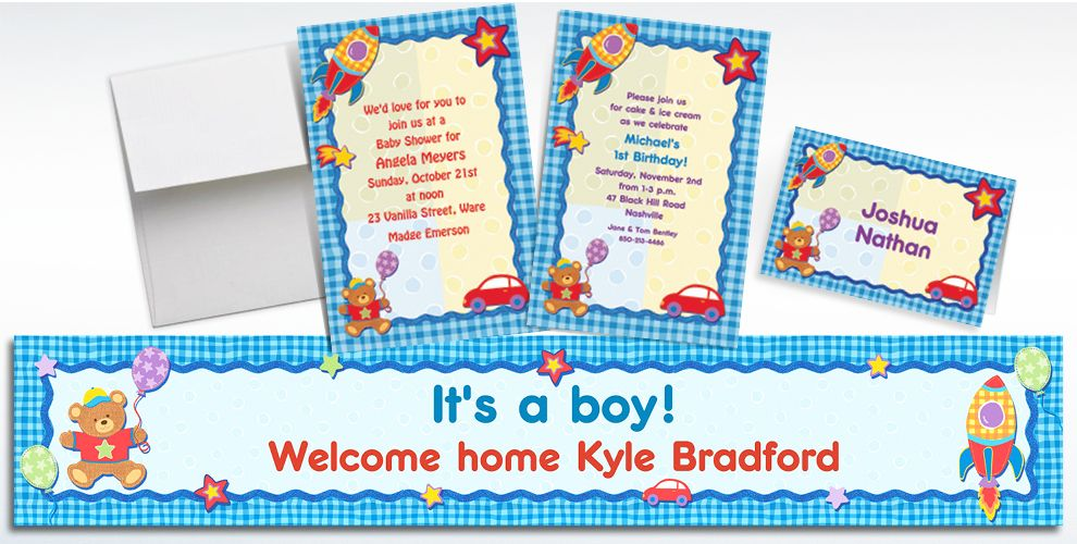 Custom Hugs and Stitches Boy Baby Shower Invitations and Thank You Notes