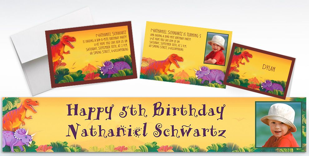 Custom Prehistoric Dinosaurs Invitations, Thank You Notes and Banners