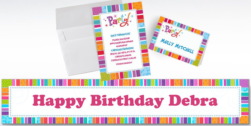 Custom Radiant Happy Birthday Invitations and Thank You Notes