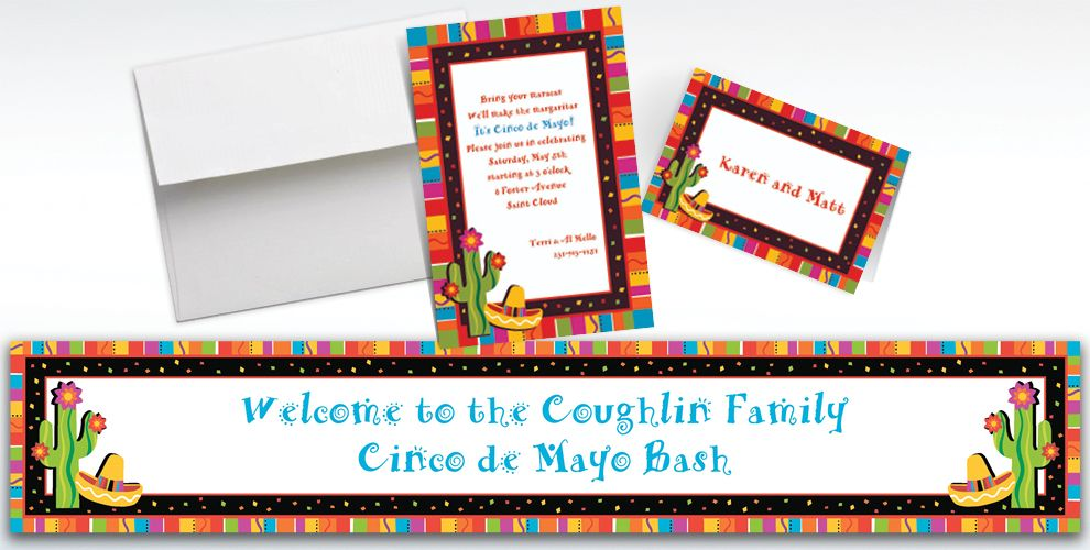 Custom Fiesta Fun Invitations and Thank You Notes