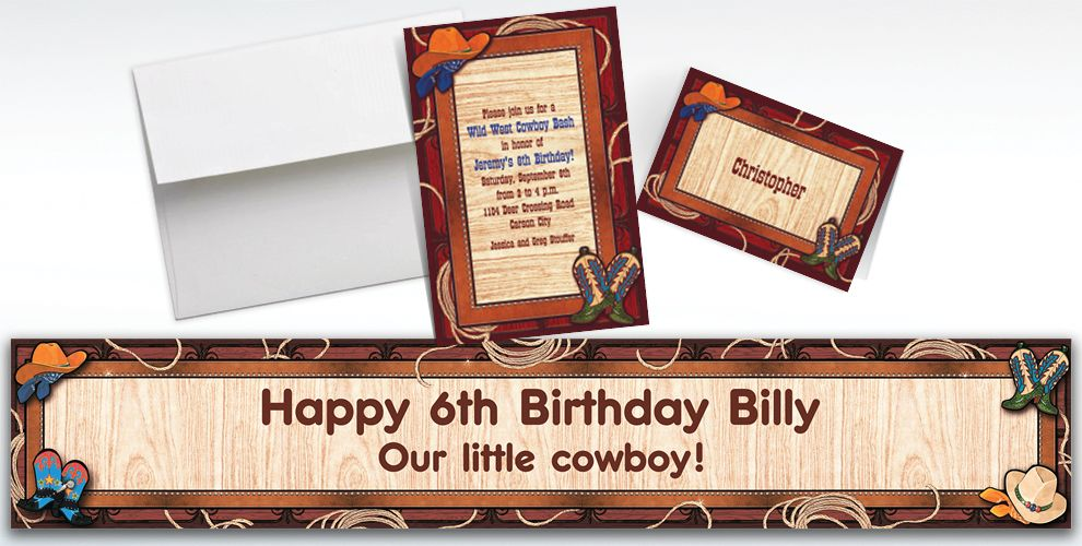 Custom Giddy Up Cowboy Western Invitations and Thank You Notes