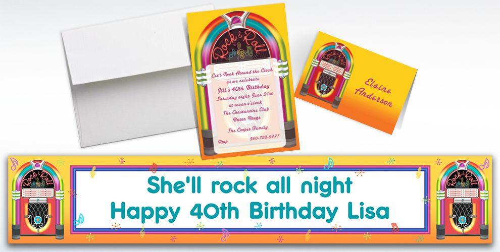 Custom Rock-N-Roll Invitations and Thank You Notes