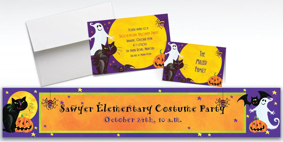 Custom Gruesome Group Halloween Invitations and Thank You Notes