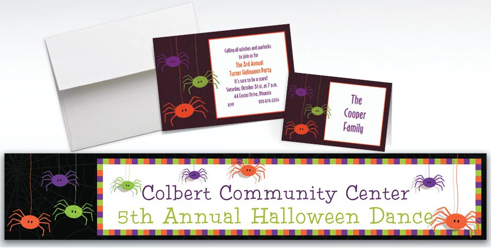 Custom Spider Frenzy Halloween Invitations and Thank You Notes