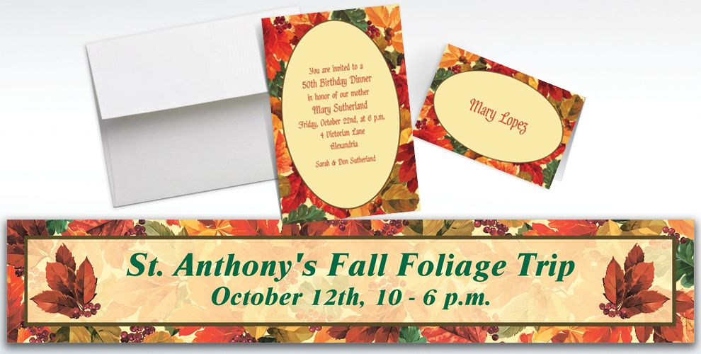 Custom Elegant Leaves Invitations and Thank You Notes