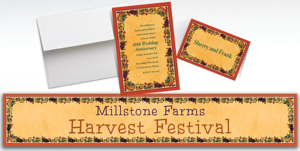 Custom Thanksgiving Medley Invitations and Thank You Notes