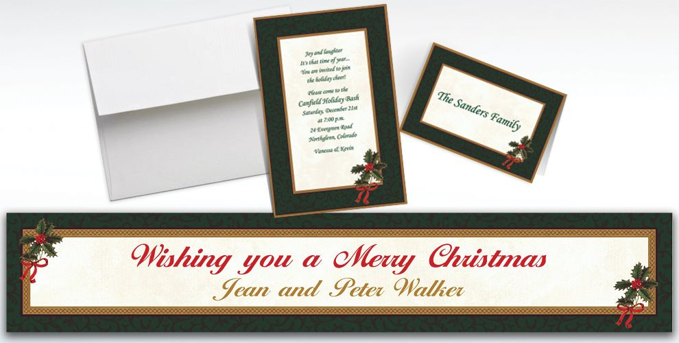 Custom Classic Holly Christmas Invitations and Thank You Notes
