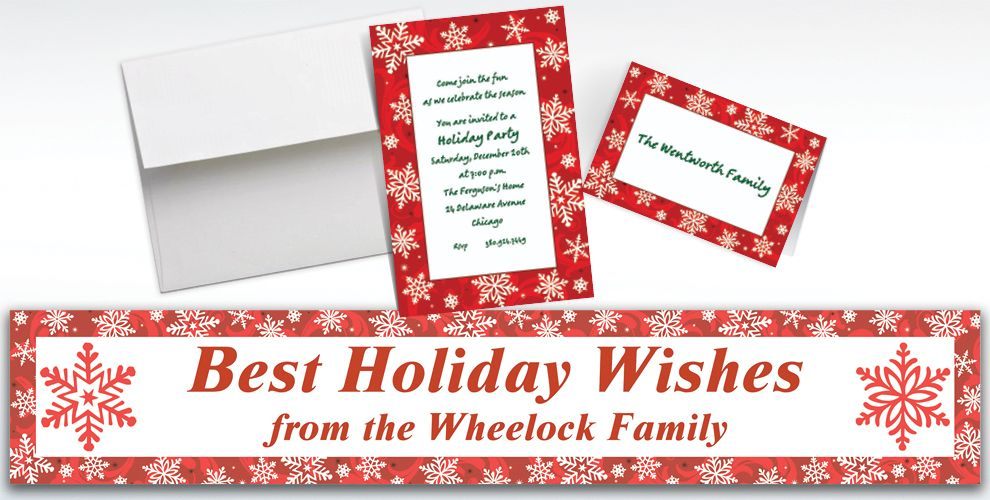 Custom Elegant Red Christmas Invitations and Thank You Notes