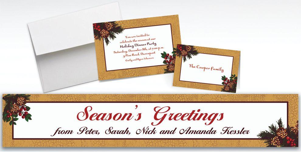 Custom Holiday Splendor Invitations and Thank You Notes