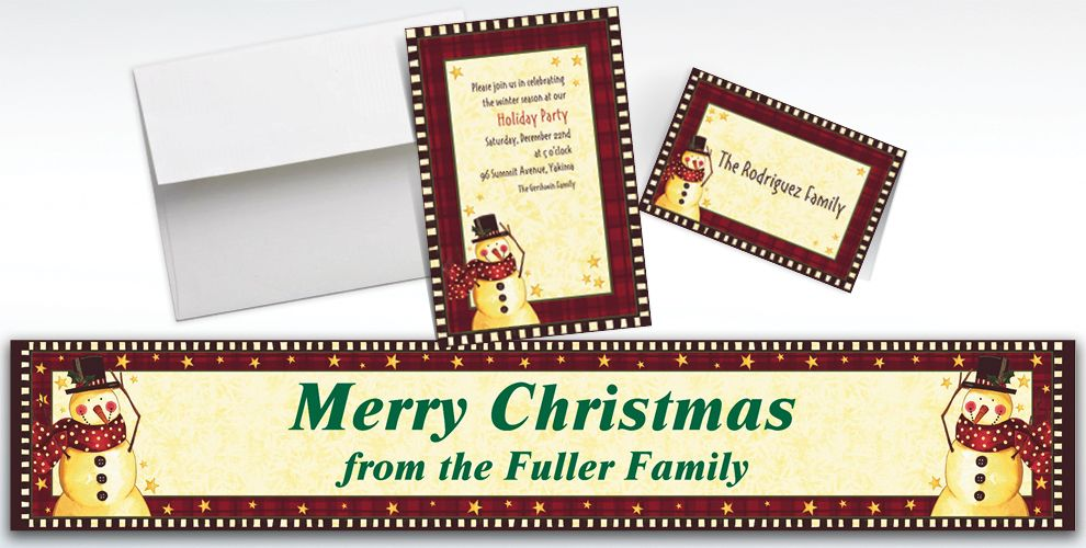 Custom Cozy Snowman Invitations and Thank You Notes