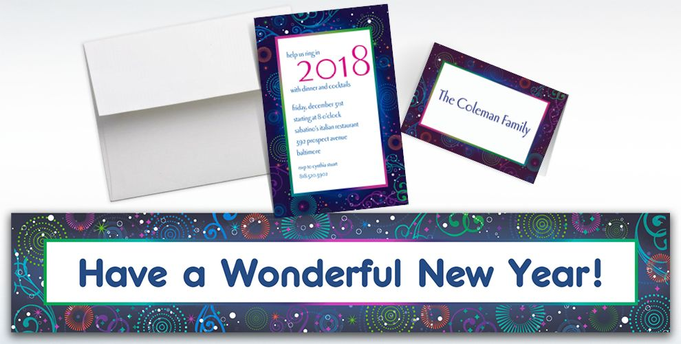 Custom Midnight Festivities New Year's Invitations and Thank You Notes