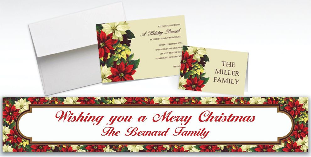 Custom Regal Poinsettia Invitations and Thank You Notes