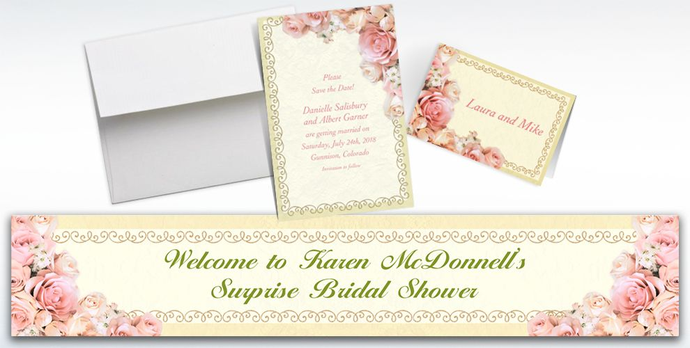 Custom Dazzling Bouquet Bridal Shower Invitations and Thank You Notes