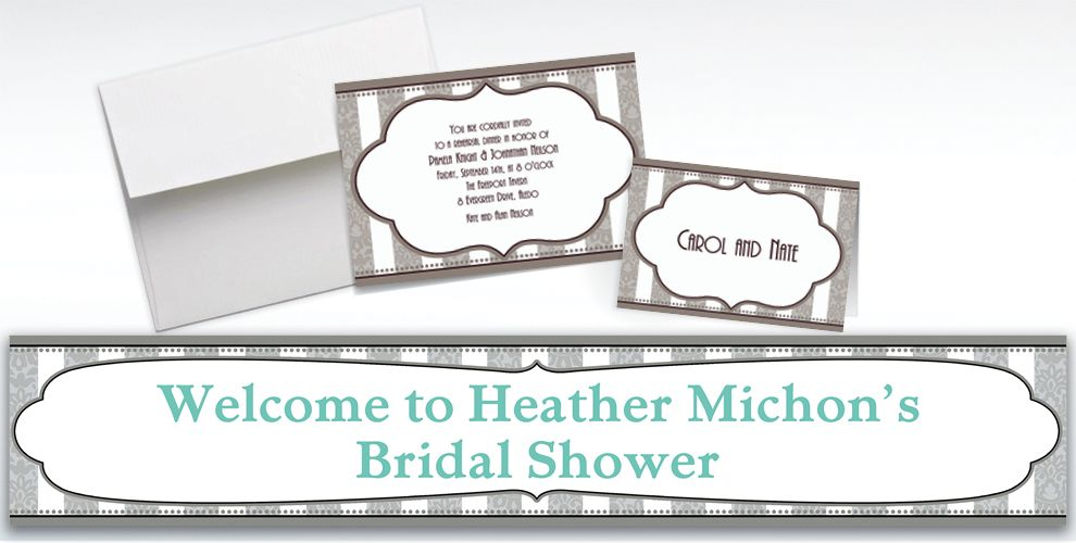 Custom Bride and Groom Bridal Shower Invitations and Thank You Notes