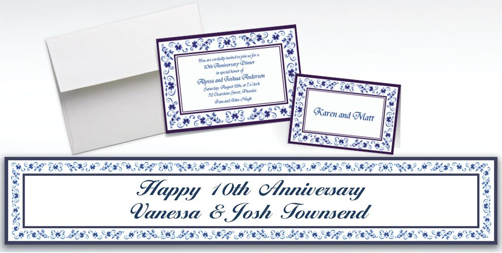 Custom Blue Provence Invitations and Thank You Notes