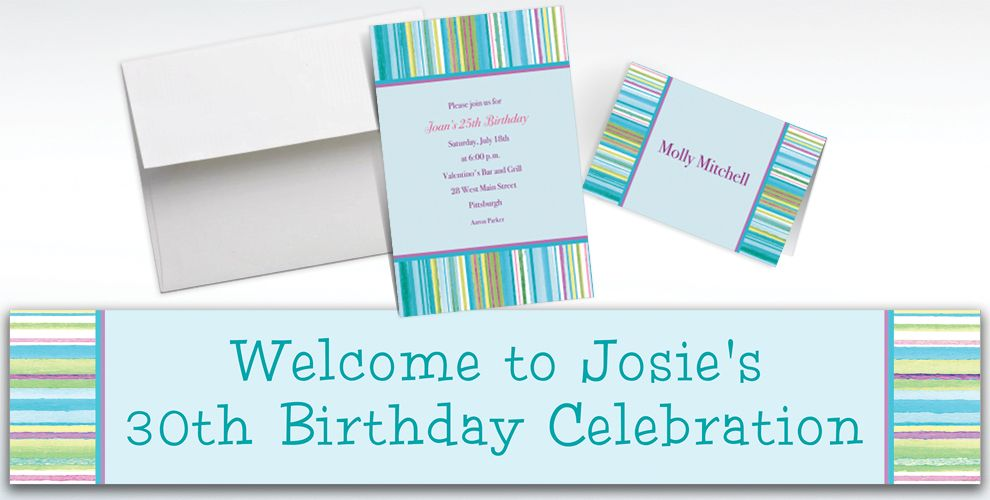Custom Blue Watercolor Stripe Invitations and Thank You Notes