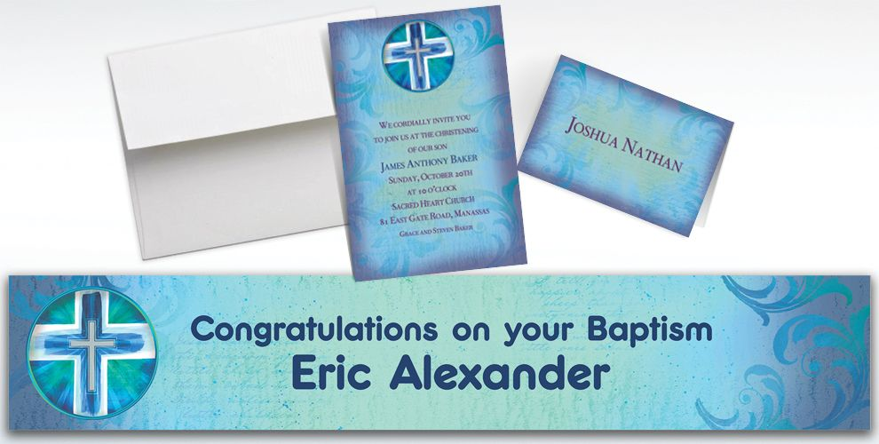 Custom Joyous Cross Blue Invitations and Thank You Notes