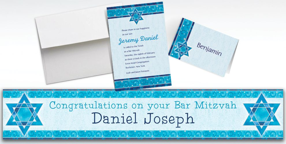 Custom Shimmering Star Invitations and Thank You Notes