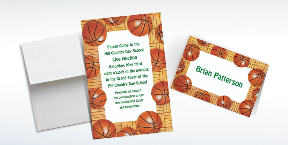 Custom Basketball Border Invitations and Thank You Notes