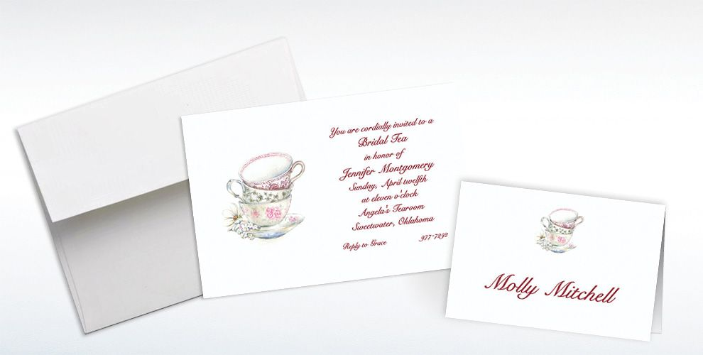 Custom China Teacups Bridal Shower Invitations and Thank You Notes