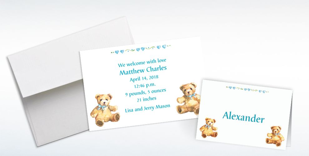 Custom Teddy Bears with Blue Birth Announcements Invitations and Thank You Notes