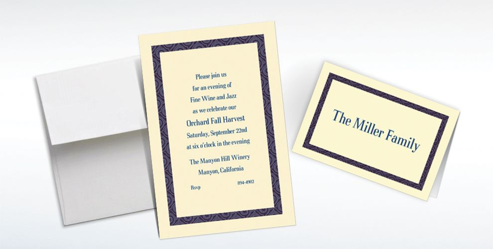 Custom Navy Moroccan Border Ecru Invitations and Thank You Notes