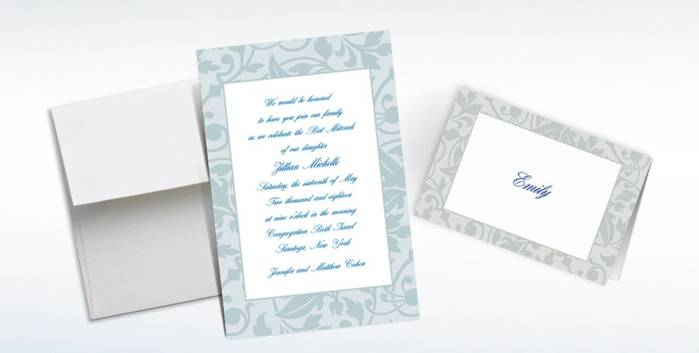 Custom Gray Damask Border Invitations and Thank You Notes