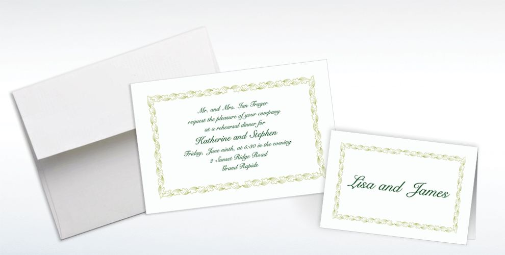 Custom Sage Leaf Scroll Invitations and Thank You Notes