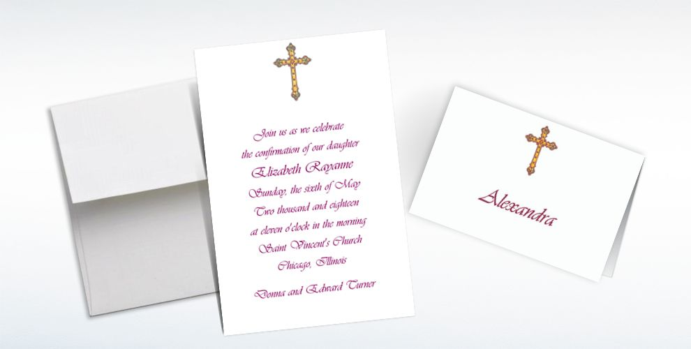 Custom Small Detailed Cross Invitations and Thank You Notes