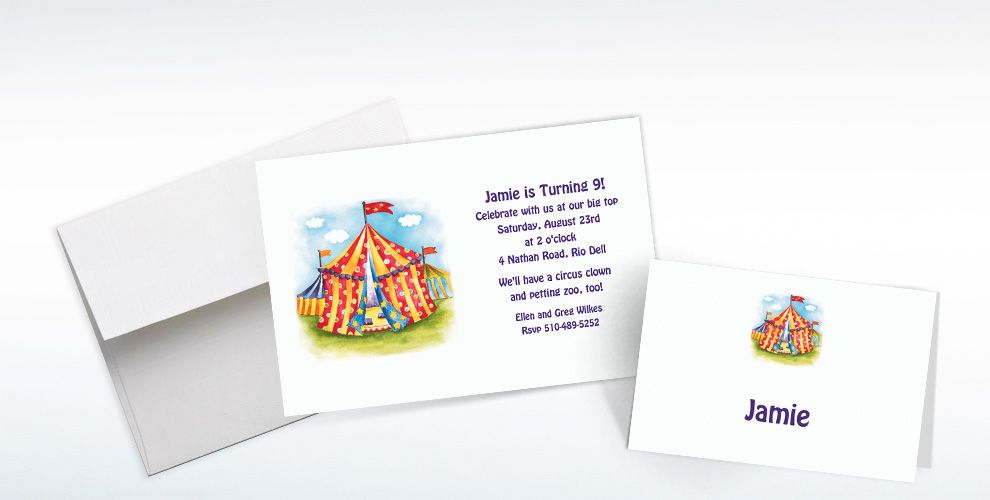 Custom Circus Tent Invitations and Thank You Notes