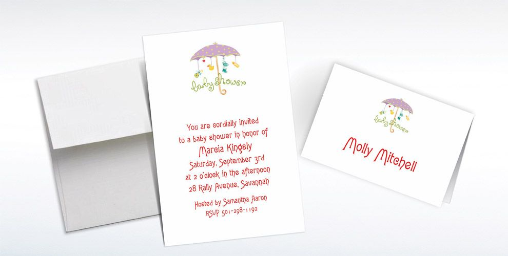 Custom Baby Shower Umbrella Baby Shower Invitations and Thank You Notes