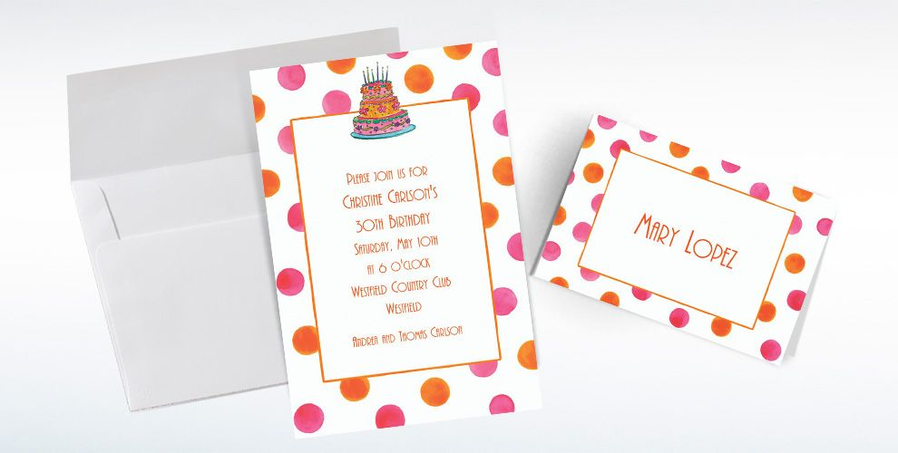 Custom Girly Cake with Dots Birthday Invitations and Thank You Notes