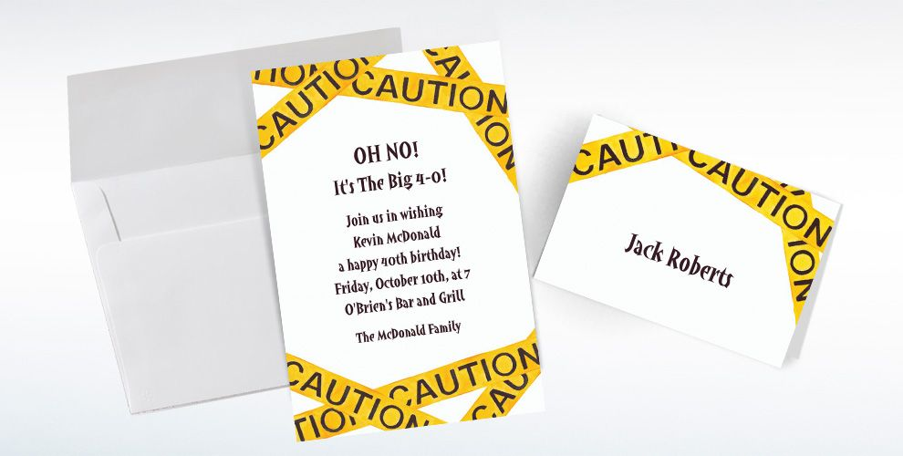 Custom Caution Tape Birthday Invitations and Thank You Notes