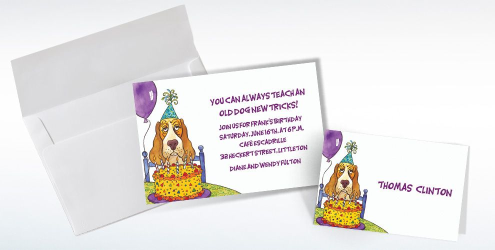 Custom Dog Years Birthday Invitations and Thank You Notes