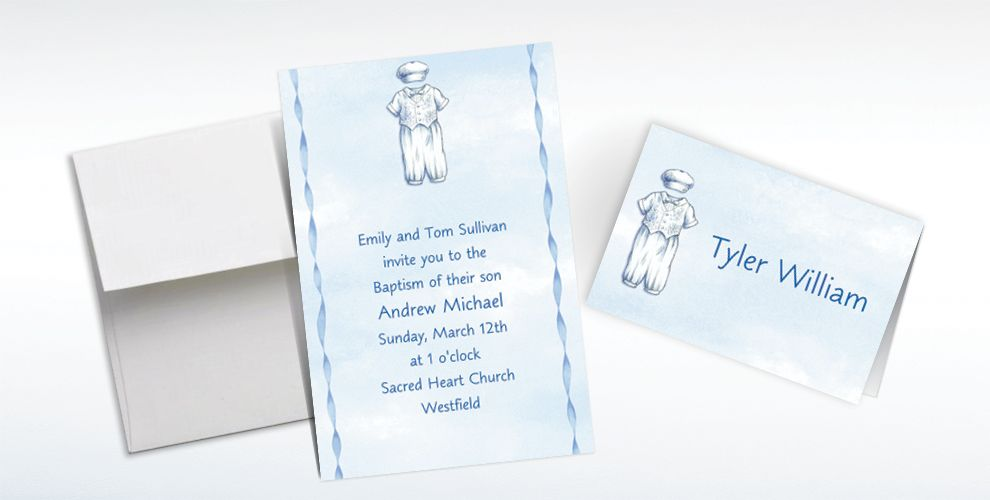 Custom Christening Suit on Blue Invitations and Thank You Notes